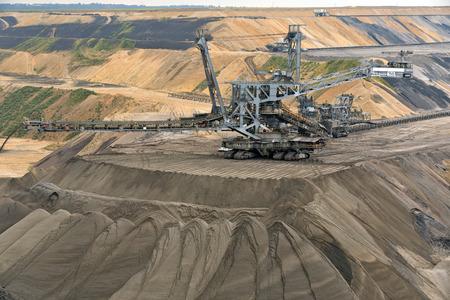 Garzweiler, Germany - September 9, 2013: Bucket wheel excavator at a surface mine for lignite in North Rhine-Westphalia