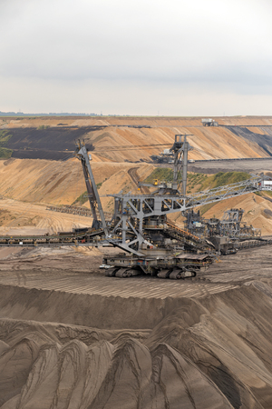 lignite: Garzweiler, Germany - September 9, 2013: Excavator at a surface mine for lignite in North Rhine-Westphalia Editorial