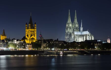 Cologne, Germany - October 2, 2015: Cologne Cathedral and Skyline of Cologne at Night