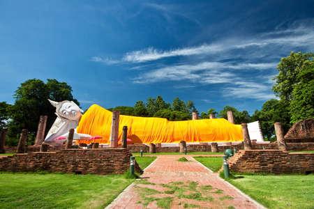 Ruin reclining buddha, Thailand Stock Photo