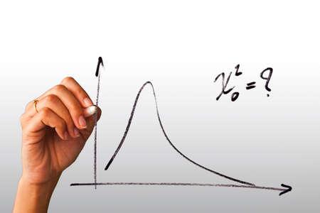 femme dessin: main dessiner un graphique isol� sur fond blanc
