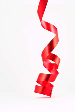 red ribbon bow: Red ribbon isolated on white