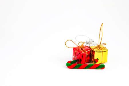 Gift set decoration isolated on white photo