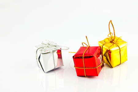 Gift boxes decoration isolated on white photo