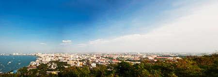 pattaya: Panorama of Pattaya bay in Thailand Stock Photo