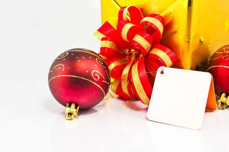 Gif box and x mas ball on white Stock Photo - 9380836