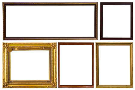 Wooden photo frame collection isolated on white background Banque d'images