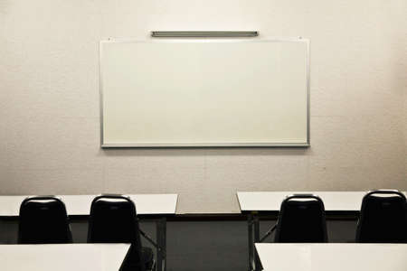 board room: White board in classroom Stock Photo