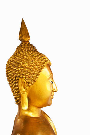 Golden image buddha statue isolate on white background photo