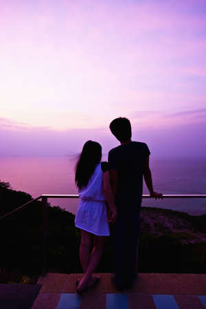 Romantic Scene of lover on the beach photo