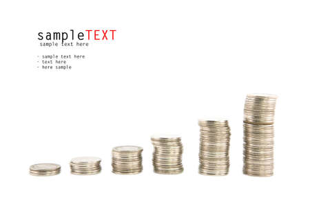 Progress and wealth of silver coins stacks, isolate on white background Stock Photo - 9859140