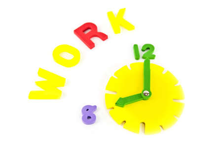 Clock and work wording, isolate on white background photo