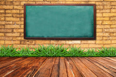 Grunge chalkboard on brick wall background photo