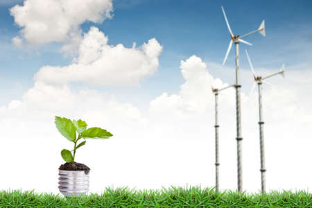 Green plant and turbine windmill Stock Photo