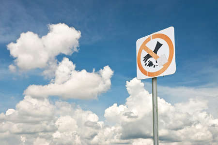 Label sign against cloud blue sky background photo