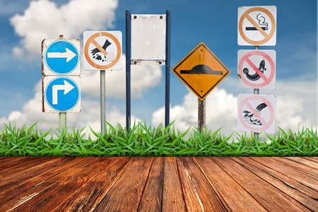driving school: Traffic sign againt cloud blue sky background Stock Photo