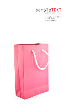 Pink paper bag isolate on white background Stock Photo - 9990501