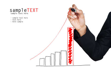 Hand drawing a red growing graph, isolate on white background