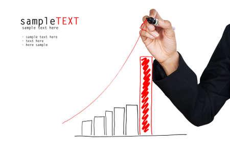 Hand het tekenen van een rode groeiende grafiek, isoleren op een witte achtergrond