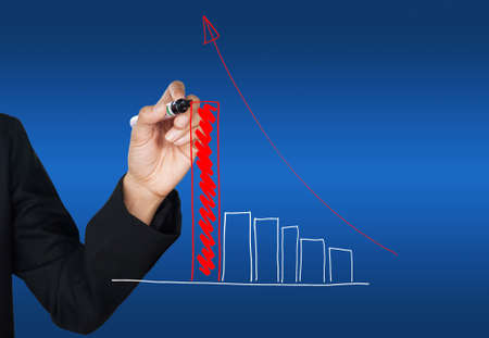 Hand drawing red growing graph Stock Photo - 10078501