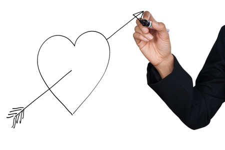 Hand drawing heart and bow, isolate on white background photo