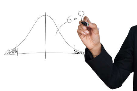 normal school: Hand drawing a normal curve statistical, isolate on white background