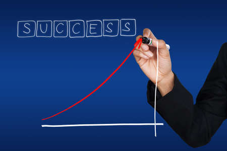 Hand drawing success growing trend Stock Photo - 10078530