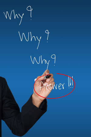 Hand drawing red circle around answer word photo