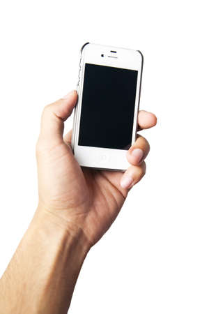 Hand holding white cell phone, isolate on white