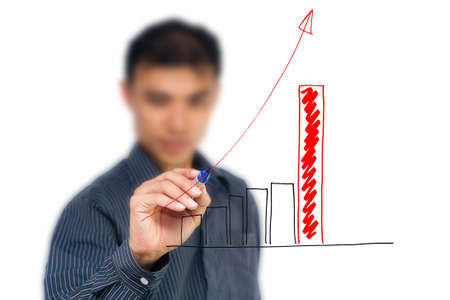 Business man drawing graph, isolate on white Stock Photo - 10361019