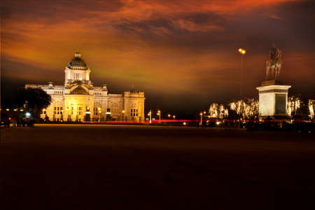 Sunset over royal palace in Thailand photo
