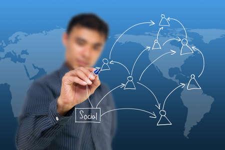 Man writing social network icon photo