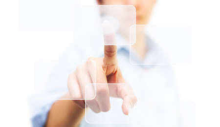 Business woman touching on touch screen icon photo