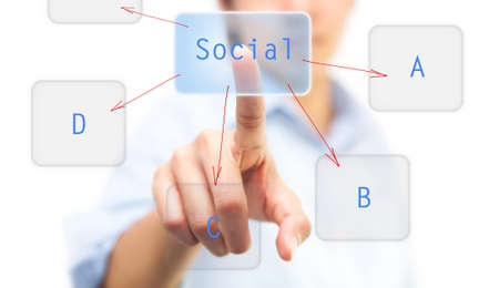 Finger pushing on touch screen icon, can be used for social network concept photo