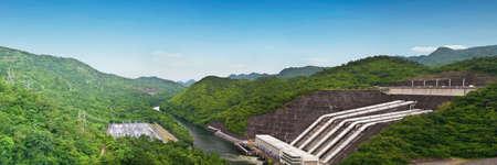 Panorama of Srinakarind dam in Kanchanaburi, Thailand photo