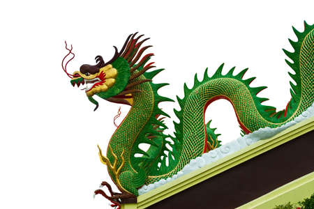 Green dragon statue isolate on white background photo