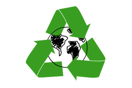 The recycling symbol of arrows surrounding Earth drawn. photo