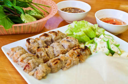 nem: Grilled Port Ball Served with Deipping Suace and Paper Rice Nem Nuong Plate