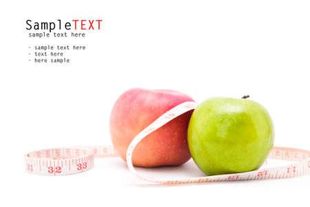 dieta sana: Apple y cinta m�trica aislados en blanco