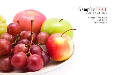 Apple and grape fruit, isolate on white background photo