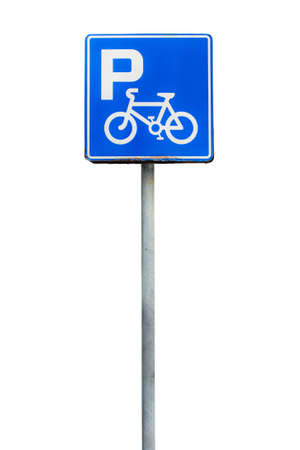 Parking bicycle sign, isolate on white background photo