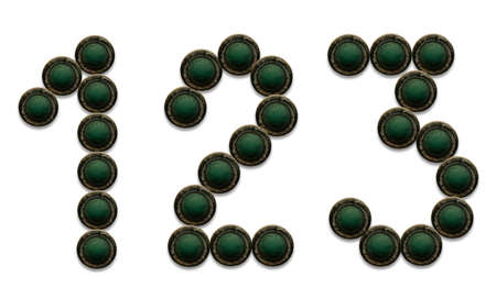 Number made from grunge button, isolate on white background photo