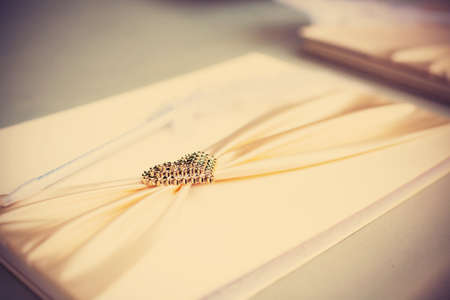 Vintage of signation note in wedding ceremony photo