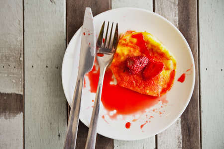 Strawberry fruit top up on pan cake breakfast photo