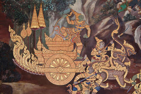 ramayana: Native art painting style on temple wall, Thailand