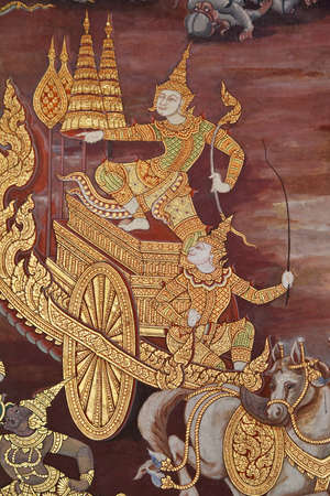 Native thai art painted style, Wat Pra Kaew, Thailand