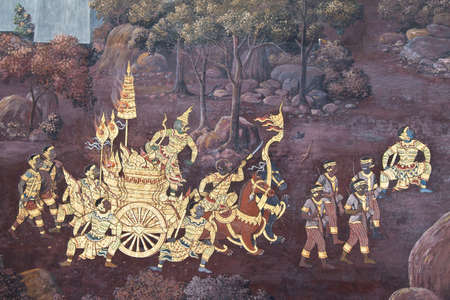 Ramayana story art painted on temple wall, Wat Pra Kaew, Thailand