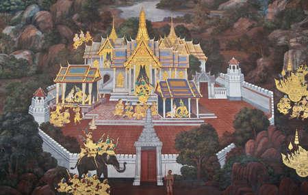 ramayana: Native thai art painted style, Thailand