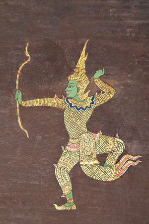 ramayana: Art painting style on temple wall, Thailand