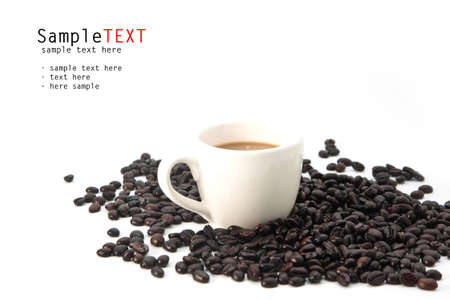 Cup of coffee and beans, isolate on white background Stock fotó